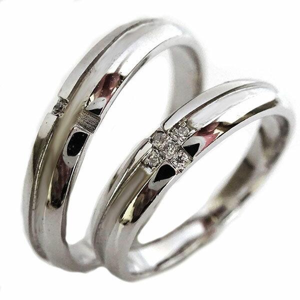結婚指輪 プラチナ マリッジリング ペアリング ダイヤモンド ペア2本セット Pt900 ダイヤ クロス デザイン【送料無料】