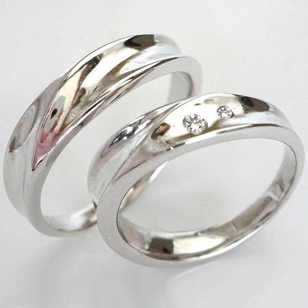 プラチナ 幅広 ペアリング 結婚指輪 マリッジリング ダイヤモンド ペア2本セット Pt900 ダイヤ 0.03ct【送料無料】
