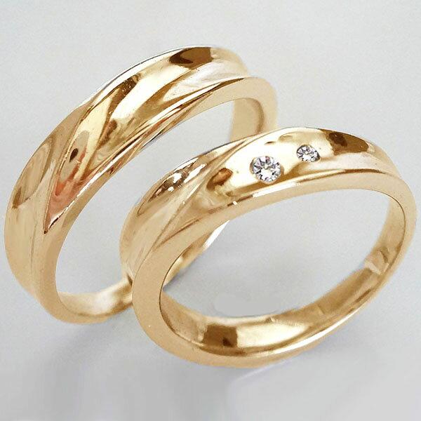 幅広 ペアリング ピンクゴールドk10 結婚指輪 マリッジリング ダイヤモンド ペア2本セット K10pg ダイヤ 0.03ct【送料無料】