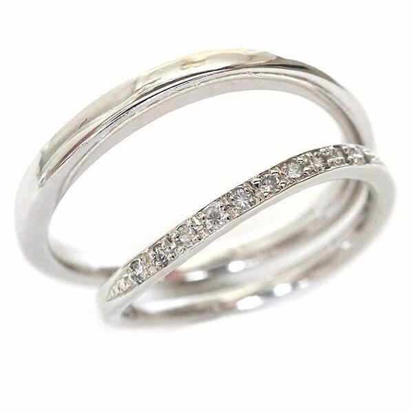 結婚指輪 マリッジリング ホワイトゴールドk18 ペアリング ダイヤモンド ペア2本セット K18wg ダイヤ 0.06ct【送料無料】