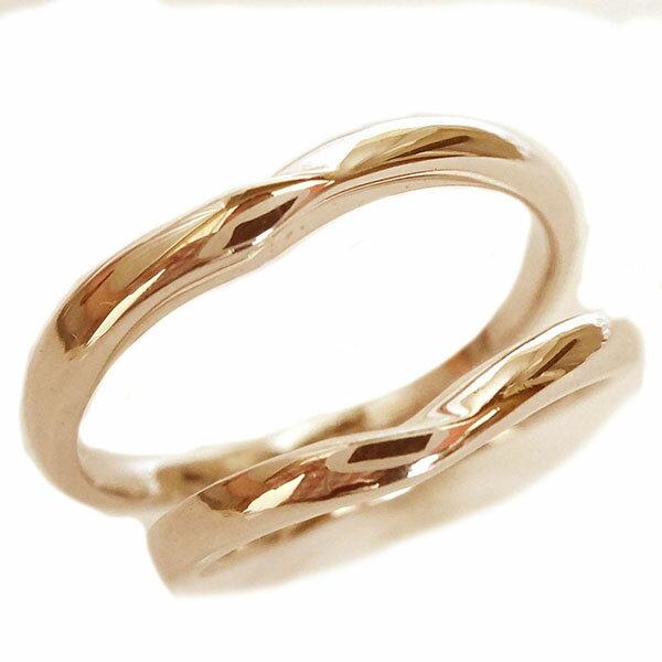ピンクゴールドk10 ペアリング ペア2本セット 結婚指輪 マリッジリング K10pg V字【送料無料】