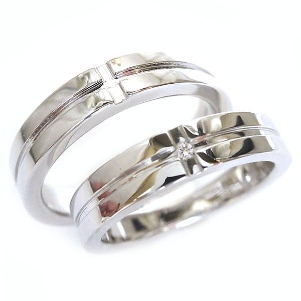 幅広 クロス プラチナ ペアリング ダイヤモンド ペア2本セット 結婚指輪 マリッジリング Pt900 ダイヤ ストレート【送料無料】
