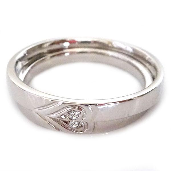シルバー ペアリング ダイヤモンド ペア2本セット ハート 結婚指輪 マリッジリング SV925 ダイヤ【送料無料】