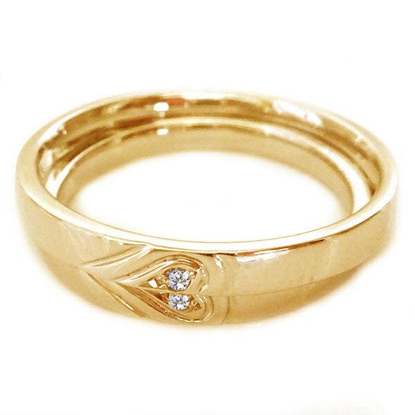ピンクゴールド K10 ペアリング ダイヤモンド ペア2本セット ハート 結婚指輪 マリッジリング K10pg ダイヤ ペア カップル レディース メンズ 記念日【送料無料】