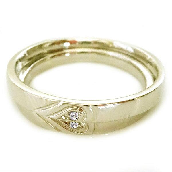 ゴールド K10 ペアリング ダイヤモンド ペア2本セット ハート 結婚指輪 マリッジリング K10yg ダイヤ ペア カップル レディース メンズ 記念日【送料無料】