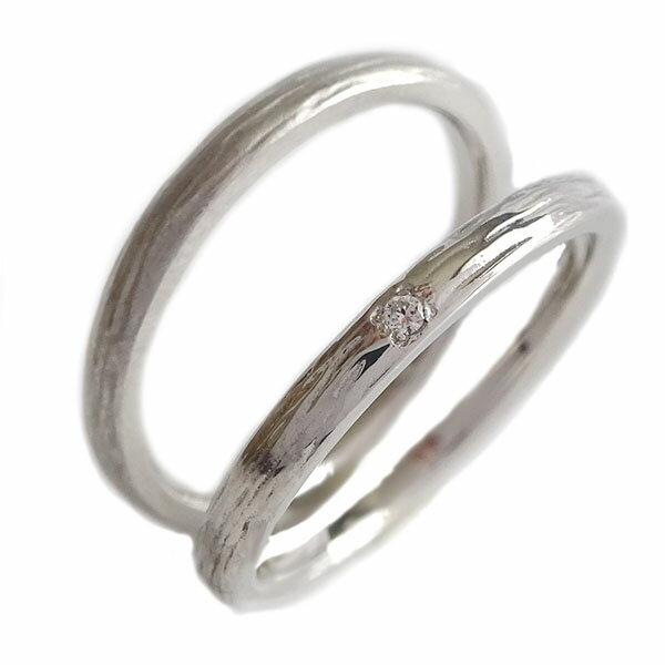 ペアリング ダイヤモンド プラチナ900 ペア2本セット 結婚指輪 マリッジリング K18wg【送料無料】