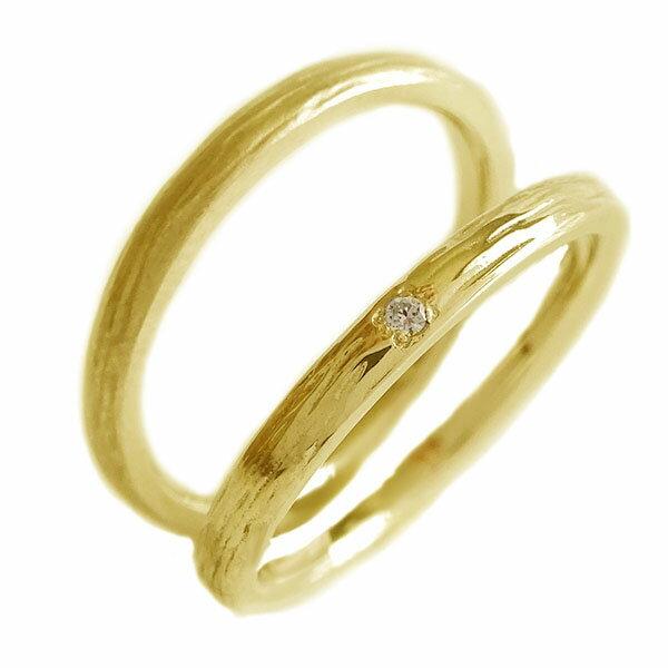 2人の絆を深めるペアリング イエローゴールドk18 結婚指輪 マリッジリング  ペアリング ダイヤモンド ゴールドk18 ペア2本セット 結婚指輪 マリッジリング K18yg【送料無料】