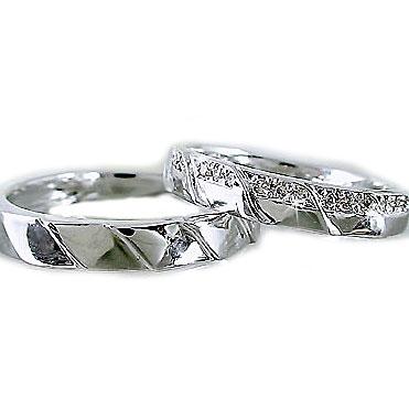 ペアリング ダイヤモンド 結婚指輪 マリッジリング ホワイトゴールドK10 ペア 2本セット K10wg 指輪 ダイヤ 0.1ct