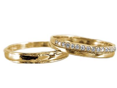 ペアリング:結婚指輪:イエローゴールドk18:マリッジリング:ペア2本セット:ダイヤモンド/K18指輪ダイヤ0.10ct【送料無料】