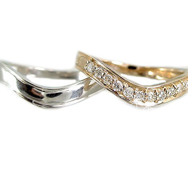 結婚指輪 ペアリング ピンクゴールド ホワイトゴールドk18 マリッジリング ダイヤモンド V字 ペア 2本セット K18 指輪 ダイヤ 0.15ct