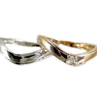 ペアリング 結婚指輪 ピンクゴールド ホワイトゴールドk18 マリッジリング ダイヤモンド V字 ペア 2本セット K18 指輪 ダイヤ 0.02ct