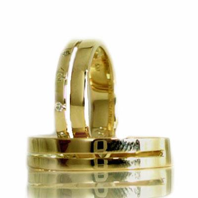 イエローゴールドk18 ペアリング 結婚指輪 マリッジリング ダイヤモンド ペア 2本セット K18 指輪 ダイヤ 0.06ct【送料無料】