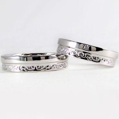 ペアリング 結婚指輪 マリッジリング ペア 2本セット ダイヤモンド Pt900 指輪 ダイヤ 0.01ct