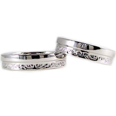 結婚指輪 ペアリング マリッジリング ホワイトゴールドk18 ペア2本セット ダイヤモンド K18wg 指輪 ダイヤ 0.01ct