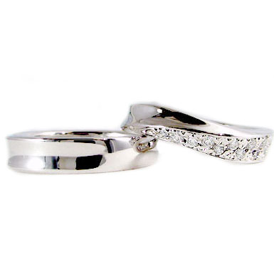 プラチナ ペアリング 結婚指輪 ダイヤモンド マリッジリング ペア 2本セット Pt900 指輪 ダイヤ 0.14ct