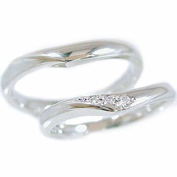 ペアリング 結婚指輪 マリッジリング ホワイトゴールドk10 ダイヤモンド 指輪 ペア2本セット K10wg 指輪 ダイヤ 0.03ct【送料無料】