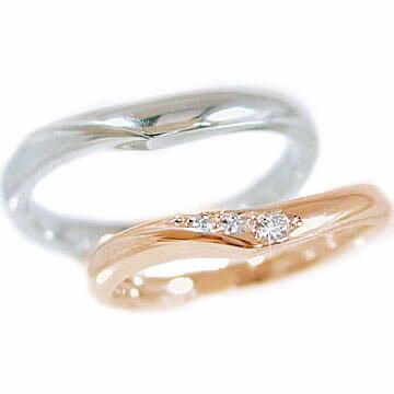 結婚指輪 マリッジリング ペアリング ピンクゴールド ホワイトゴールドk10 ダイヤモンド 指輪 ペア2本セット K10 指輪 ダイヤ 0.03ct【送料無料】