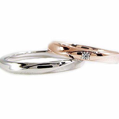 結婚指輪 ペアリング ピンクゴールド レディース ホワイトゴールド メンズ マリッジリング ダイヤモンド ペア2本セット K10 指輪 ダイヤ 0.02ct【送料無料】