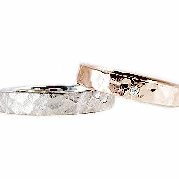 ペアリング 2本セット ピンクゴールド ホワイトゴールドk10 結婚指輪 マリッジリングにおすすめ【送料無料】  ペアリング ピンクゴールド ホワイトゴールドk10 結婚指輪 マリッジリング ダイヤモンド ペア2本セット K10 指輪 ダイヤ 0.01ct【送料無料】