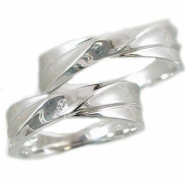 ホワイトゴールド ペアリング ダイヤモンド 指輪 マリッジリング ペア 結婚指輪 2本セット ダイヤ 0.02ct K10wg