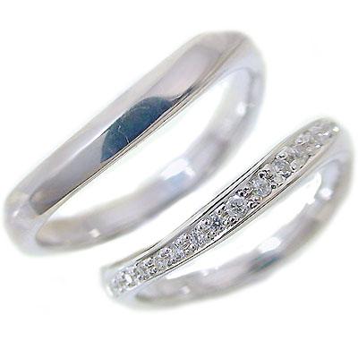 結婚指輪 マリッジリング ペアリング ホワイトゴールドk10 ダイヤモンド ペア2本セット K10wg 指輪 ダイヤ 0.1ct【送料無料】