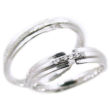 結婚指輪 ペアリング ホワイトゴールドk18 マリッジリング ペア 2本セット ダイヤモンド K18wg 指輪 ダイヤ 0.03ct