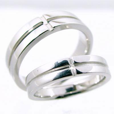 クロス 結婚指輪 ペアリング ホワイトゴールドk18 マリッジリング ペア2本セット ダイヤモンド K18wg 指輪 ダイヤ 0.01ct