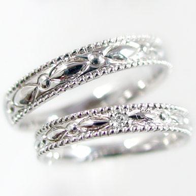 結婚指輪 ペアリング ホワイトゴールドk18 マリッジリング ペア2本セット ダイヤモンド K18wg 指輪 ダイヤ 0.01ct
