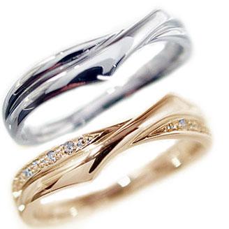 結婚指輪 実物 マリッジリング ブライダル カップル 正規品 ペア 2本セット ペアリング ピンクゴールド ダイヤモンド K18 送料無料 ホワイトゴールドk18 指輪 ダイヤ 0.08ct