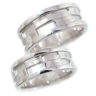幅広 結婚指輪 ペアリング ホワイトゴールドk18 マリッジリング ペア 2本セット K18wg 指輪