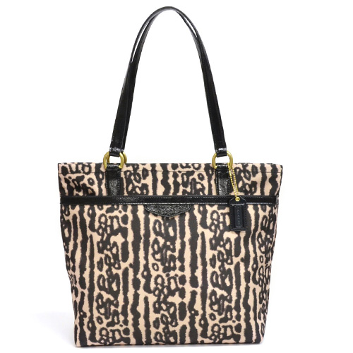 Coach Leopard Tote Bag Outlet F31901 B4 M2 Black Multi