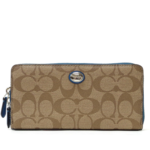 ed85a0b93f1f Coach  COACH Payton signature accordion zip around wallet long wallet outlet  F49163 SKHTE (khaki X Tyr)