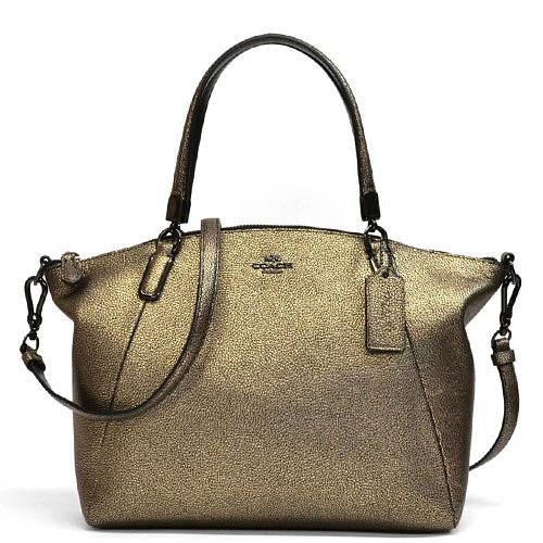 Coach Grain Metallic Leather Small Kelsey 2way Shoulder Bag 33733 Vabrs Brass