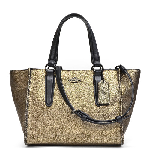 Coach Metallic Leather Mini Cross Body Shoulder Bag 33848 Vabrs Brass