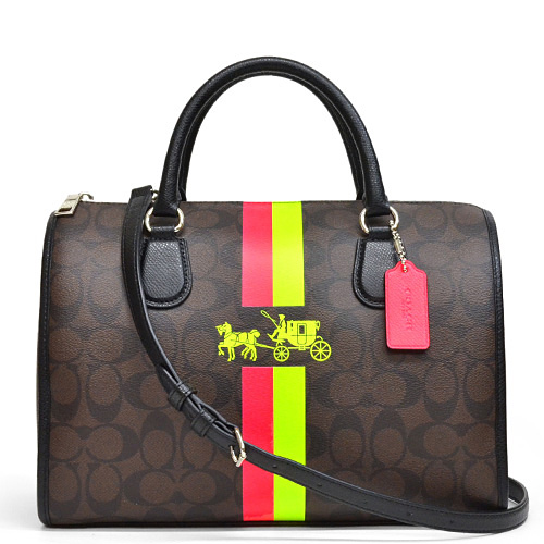 b48b2adc70e1 Coach  COACH signature double striped horse  amp  carriage Bennett satchel  2way shoulder bag outlet F33889 SVDMS (Brown x neon)