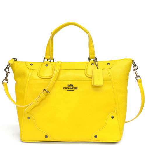 Coach Mickey Grain Leather Satchel 2way Shoulder Bag Outlet F34040 Qbylw Yellow