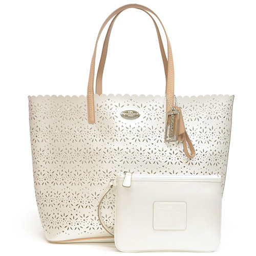Coach Metro Eyelet Leather Tote Bag Outlet F35716 Sv Iy Ivory