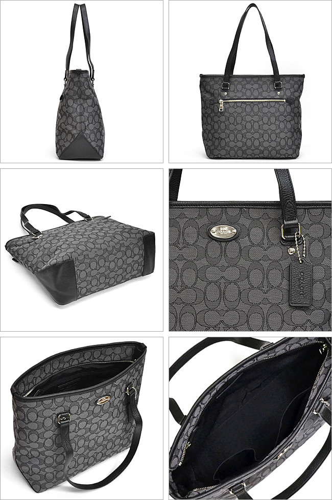 4d384f5497d8 Coach  COACH outline signature zip-top tote bag outlet F36185 SVDk6 (black  smoke x black)