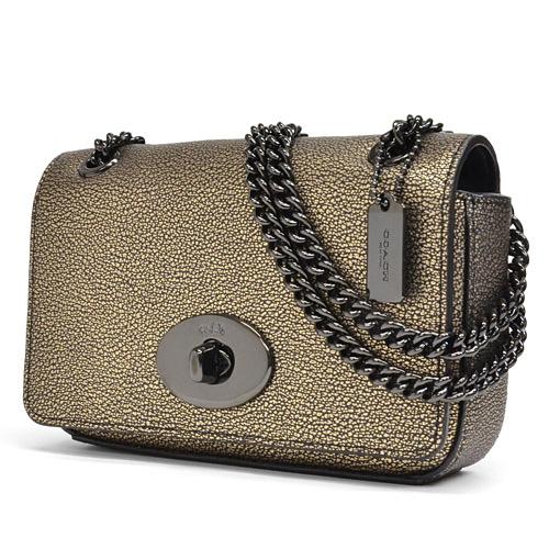 Coach  COACH metallic leather mini chain cross body shoulder bag 52412  VABRS (brass) 5bd16d0f54e2d