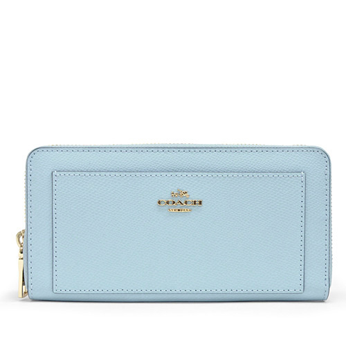 Coach Cross Grain Leather Accordion Zip Around Wallet Long Outlet F52648 Impbu Pale Blue