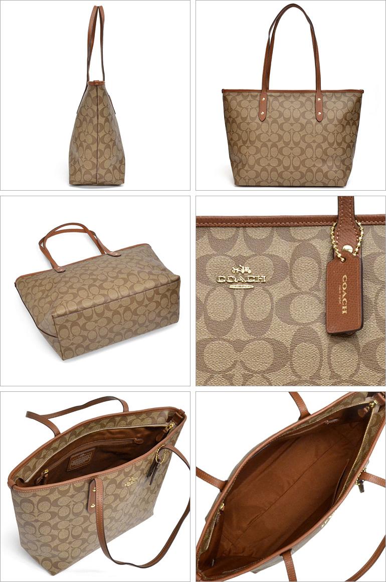 4217c054b5b8 Coach  COACH signature city zip-top tote bag outlet F36876 IMBDX (khaki    Brown)