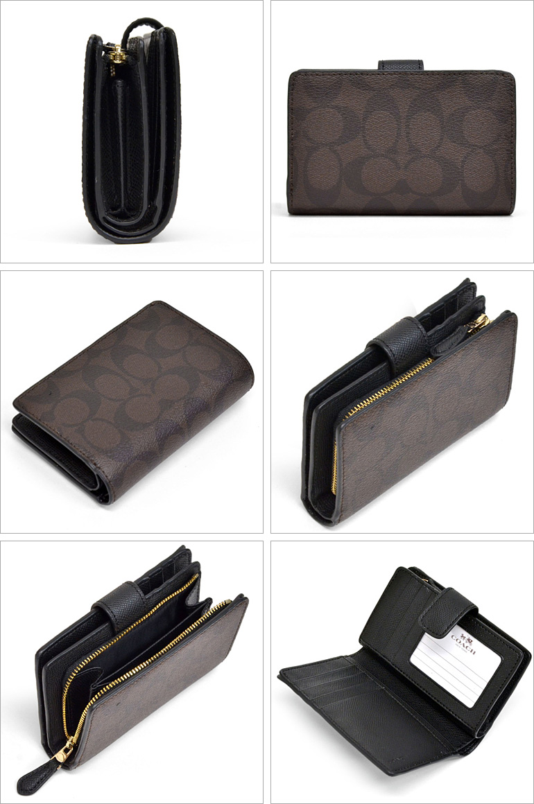 064cc5ad Coach /COACH signature medium corner zip wallet outlet F53562 IMAA8 (Brown  x black)