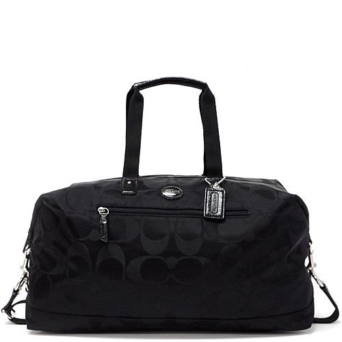 Coach Getaway Signature Nylon Travel Duffle Shoulder Bag Outlet F77469 Sbkbk Black