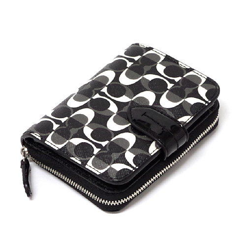 Coach /COACH Peyton dream signature wallet 2 fold wallet outlet F51594 SBWBK ( black white x black )
