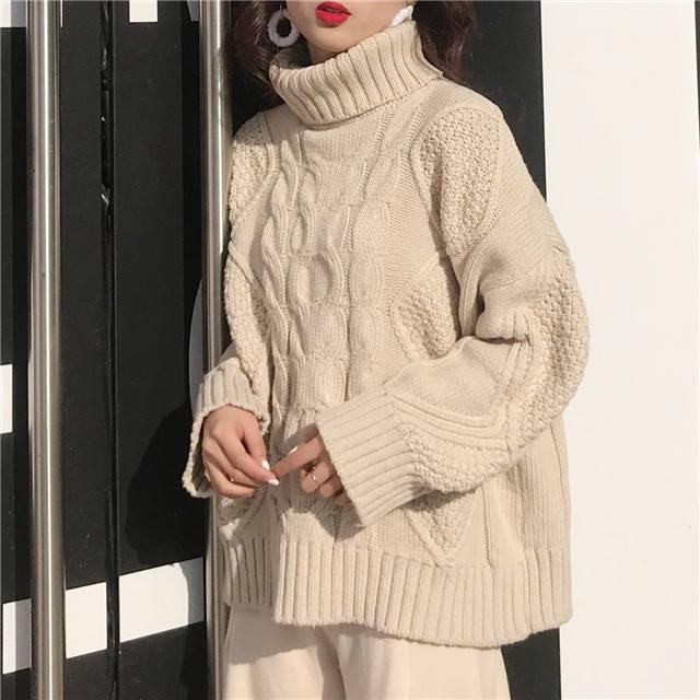 好評 レトロ 可愛い ケーブル編み タートルネック ニット 人気の製品 セーター 長袖 ざっくり ドロップショルダー 秋冬 レディース ルーズ ゆったり リラックス オーバーサイズ カジュアル