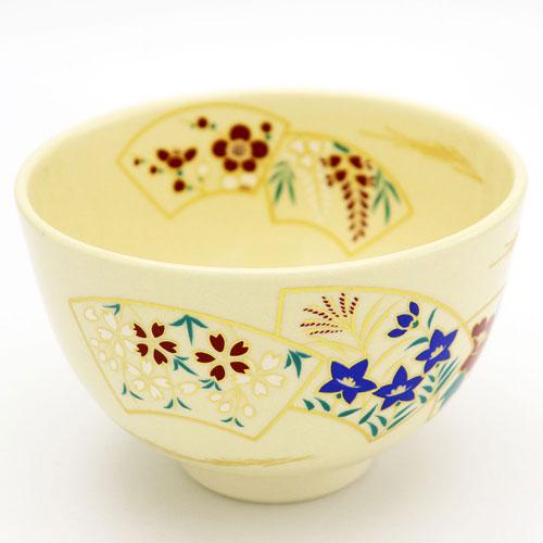 色鮮やかな扇の色絵が特徴的な抹茶椀です 出色 抹茶碗 扇面 送料0円 通年物 お稽古用 茶道具 茶の湯