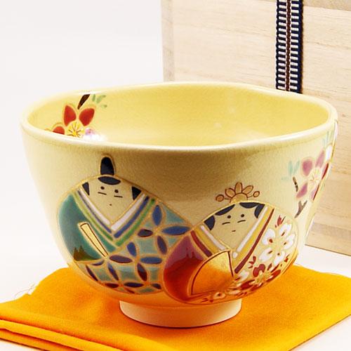 永遠の定番モデル 飴色の茶碗に愛らしいお雛様の色絵が可憐な抹茶椀です 新作 抹茶碗 貝雛 茶道具 春物