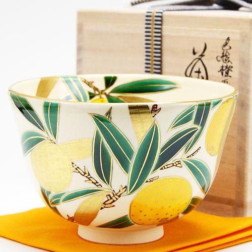 柔らかな色合いの橙の実が胴一面に描かれている冬物の抹茶碗です 抹茶碗 色絵 橙 新作 大人気 茶道具 マーケティング 冬物 相模竜泉作