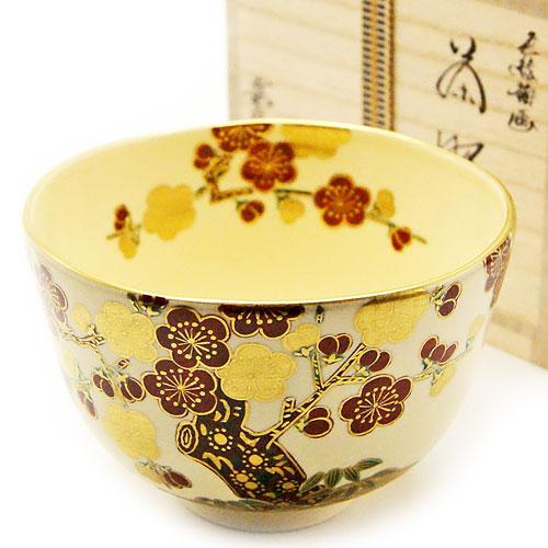 可憐な梅の花が散りばめられた初春の色絵の抹茶茶椀です 無料サンプルOK 抹茶碗 5%OFF 梅 相模竜泉作 冬物 茶道具