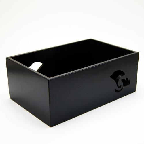 ストアー 送料無料(一部地域を除く) 手無しの銀杏透しの入った喫煙具一式を納めておく道具です 煙草盆 銀杏透し 茶道具 黒